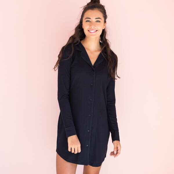 Faceplant Black Button Down Boyfriend Nightshirt