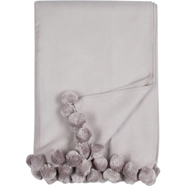 Malibu Luxxe Dove Grey Pom Pom Throw