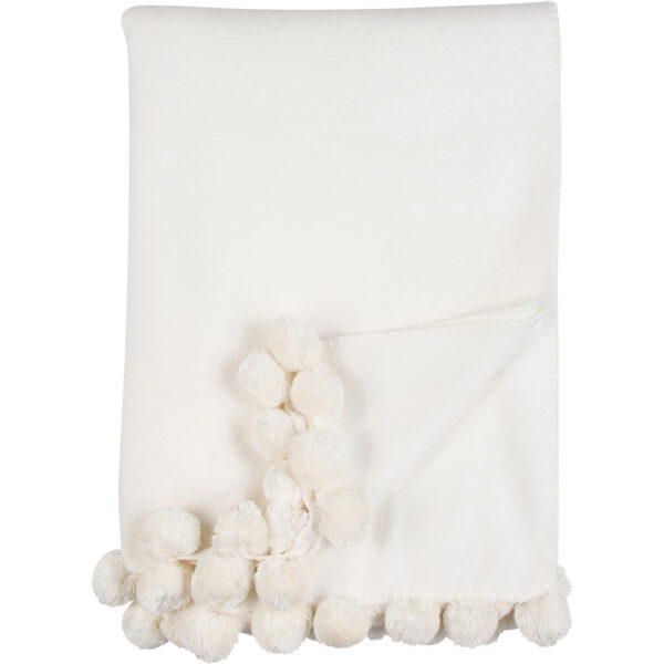 Malibu Luxxe Ivory Pom Pom Throw