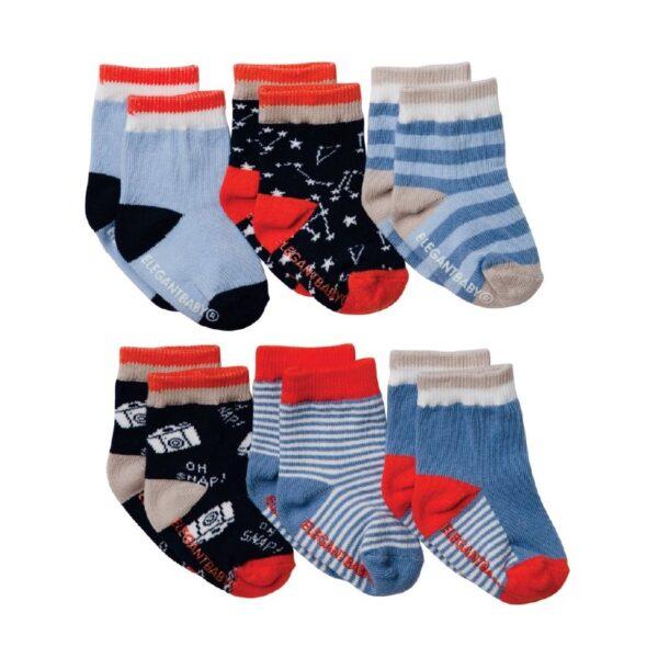 Elegant Baby Snaps & Stars 6-pack Socks