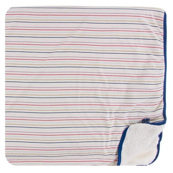 Kickee Pants Sherpa Blanket- Everyday Heroes Stripe