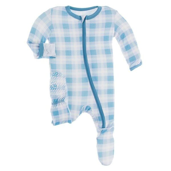 Kickee Pants Footie- Blue Moon Plaid