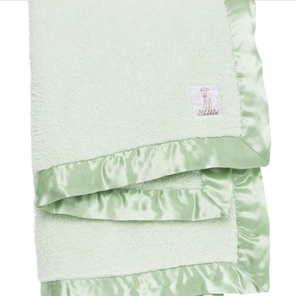 Little Giraffe Chenille Baby Blanket- Celadon