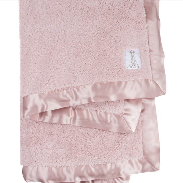 Little Giraffe Chenille Baby Blanket- Dusty Pink