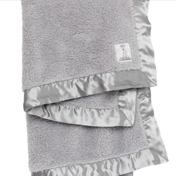Little Giraffe Chenille Baby Blanket- Silver