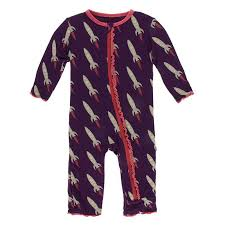 Kickee Pants Coverall- Wine Grape Rockets
