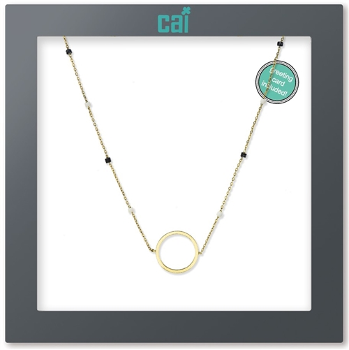 CAI Black Ring Bead Gold Necklace