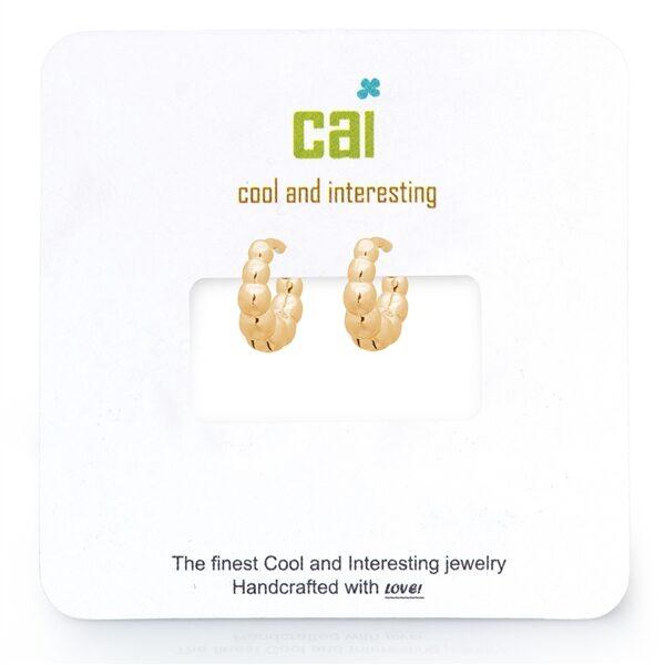 CAI Plain Gold Bubble Huggie Earrings