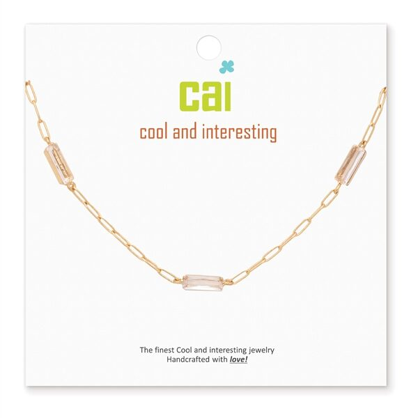 CAI Crystal Gold Paperclip Necklace