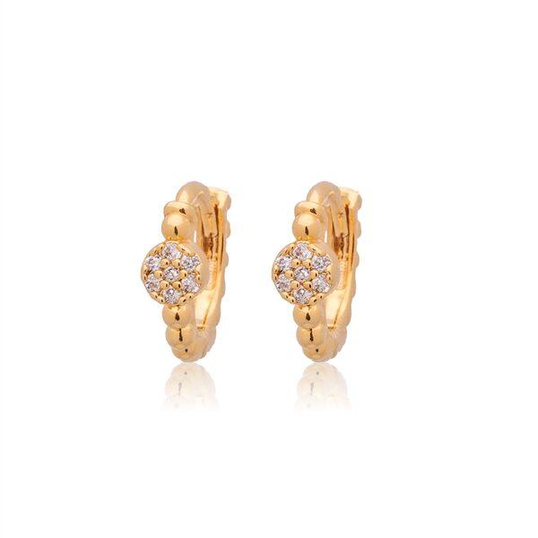 CAI Gold Crystal Stone Huggie Earrings