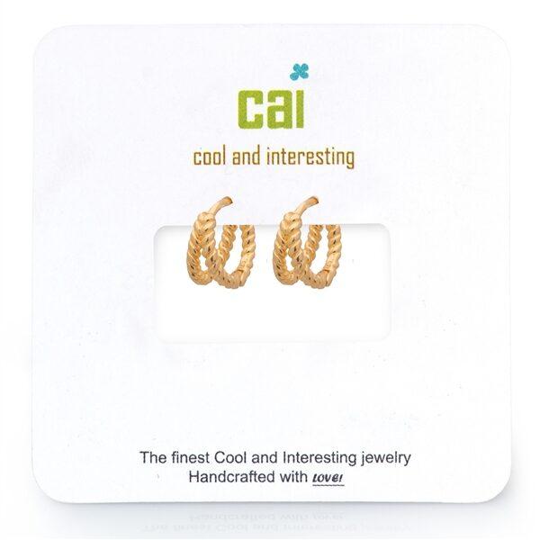 CAI Gold Split Twisted Huggie Earrings