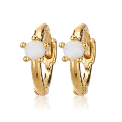 CAI Opal Single Stone Huggie Earrings
