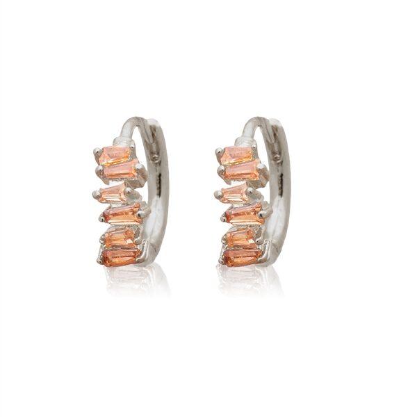 Silver Champagne Half Rectangle Huggie Earrings
