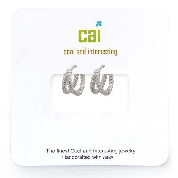 CAI Silver Split Twisted Huggie Earrings