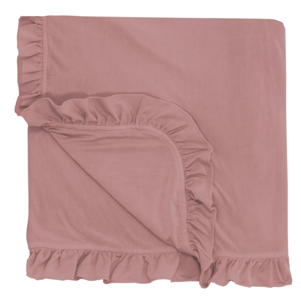 Antique Pink Ruffle Toddler Blanket