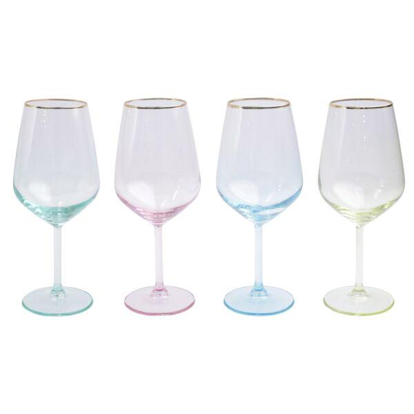 Vietri Rainbow Assorted Wine Glasses